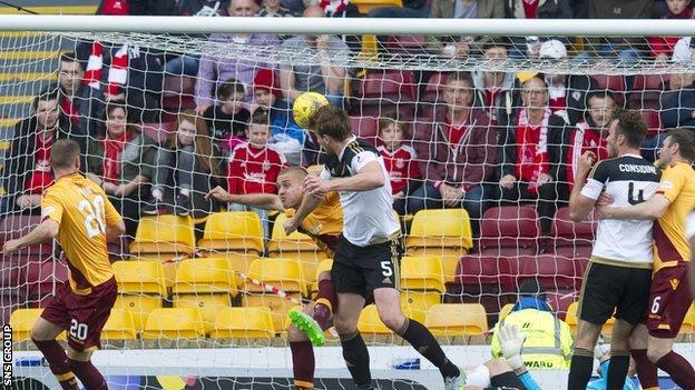 Ash Taylor heads Aberdeen into a 2-1 lead at Fir Park
