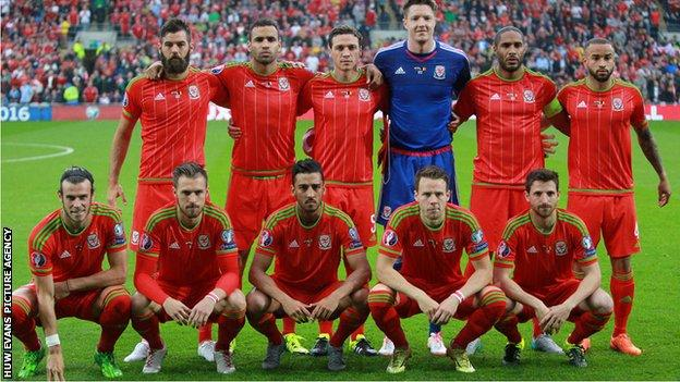 The Wales team that beat Belgium 1-0 lines up for a picture