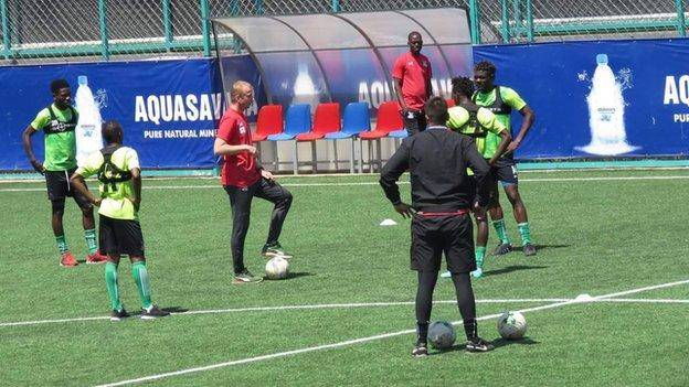 Belgian coach Sven Vandenbroeck working with the Zambia squad
