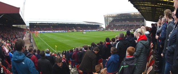 The fans at Pittodrie created a tremendous noise