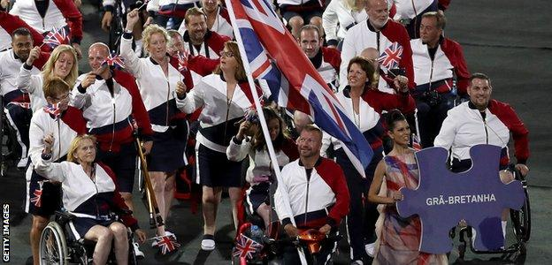 Equestrian rider Lee Pearson leads out the ParalympicsGB team at the Rio opening ceremony