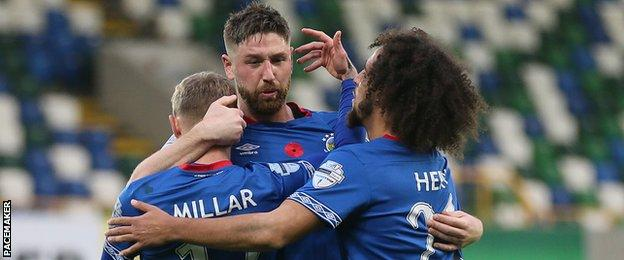 Defender Mark Stafford scored the second in Linfield's win over Carrick Rangers