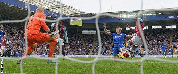 Jamie Vardy scores against Aston Villa