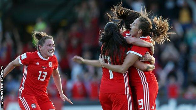 Wales women celebrate
