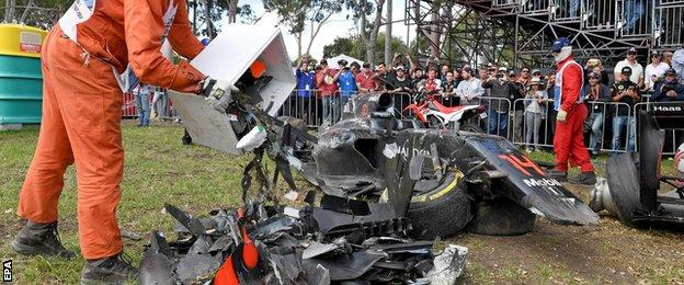 Wreckage of Alonso's car