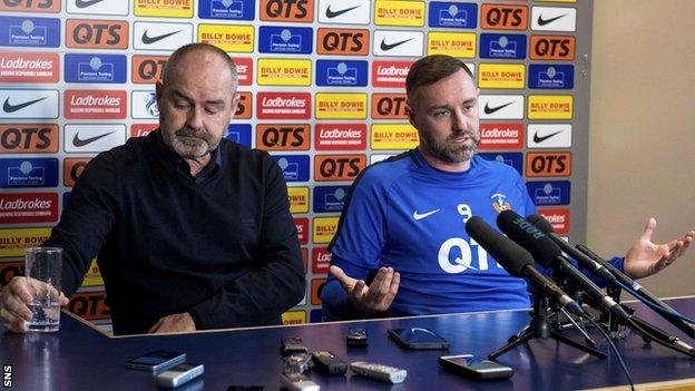 Steve Clarke and Kris Boyd hold a press conference