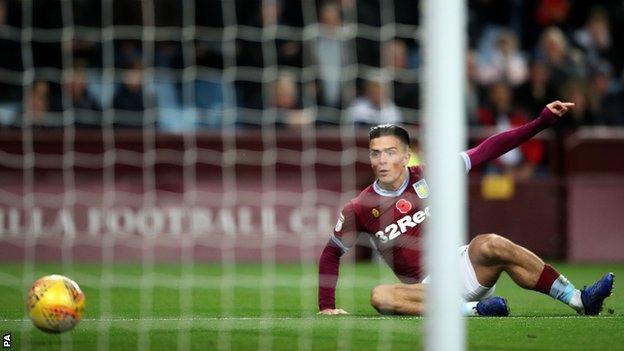 Jack Grealish opens the scoring for Aston Villa against Bolton