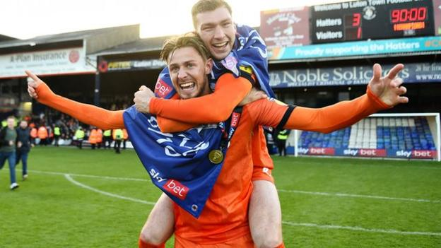 Luton Town's Harry Cornick (left) and team-mate Jack Stacey (right)