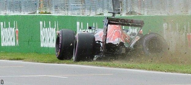 Carlos Sainz hits the wall