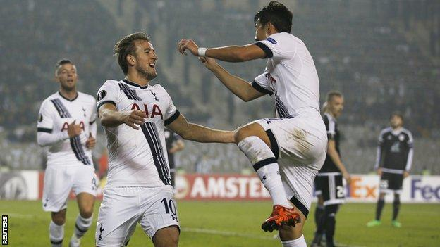 Tottenham forward Harry Kane (left) and Son Heung-min