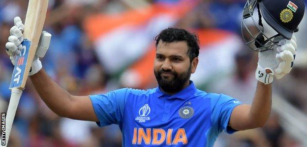 India opener Rohit Sharma celebrates a century against Bangladesh in the World Cup