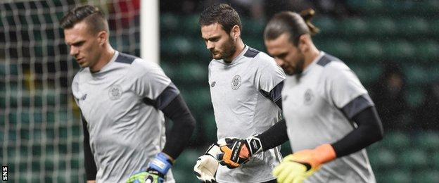 Celtic goalkeepers Dorus De Vries, Craig Gordon and Logan Bailly