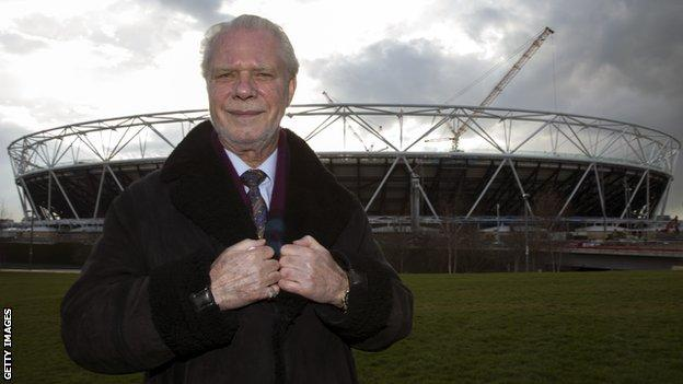West Ham chairman David Gold outside the club's new ground for 2016-17