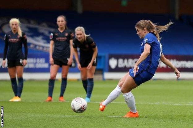Chelsea's Maren Mjelde's scores from the penalty spot against Manchester City