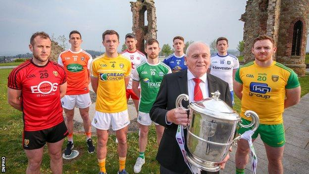 Ulster Council chairman Oliver Galligan with inter-county footballers at the launch of the 2019 Ulster SFC campaign at the Hill of The O'Neill in Dungannon
