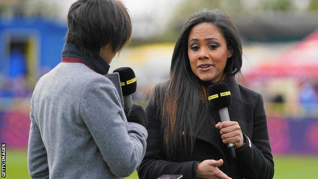 Alex Scott as part of BBC TV coverage of the WSL