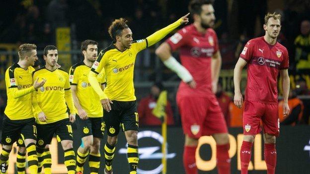 Pierre-Emerick Aubameyang celebrates scoring against Stuttgart