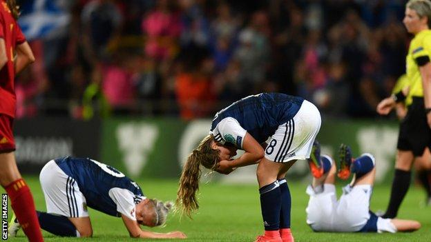Scotland beat Spain 1-0 but went out of the tournament on goal difference