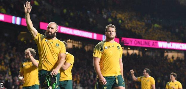 Australia celebrate beating Wales