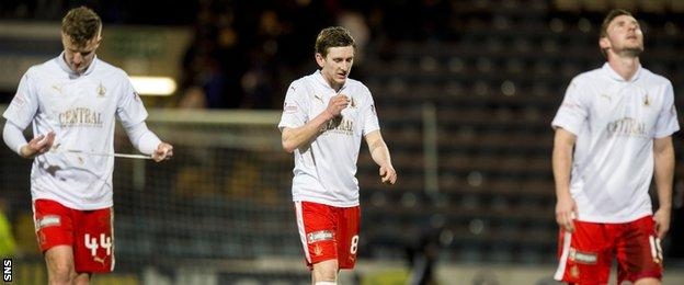 Falkirk players show their disappointment