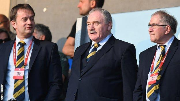 SFA chief executive Ian Maxwell, with vice president Rod Petrie and president Alan McRae (L-R)