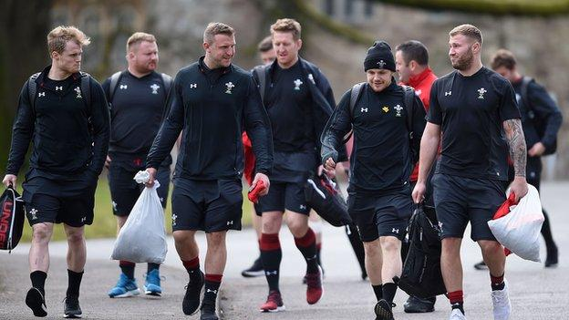 Ross Moriarty with Wales team mates
