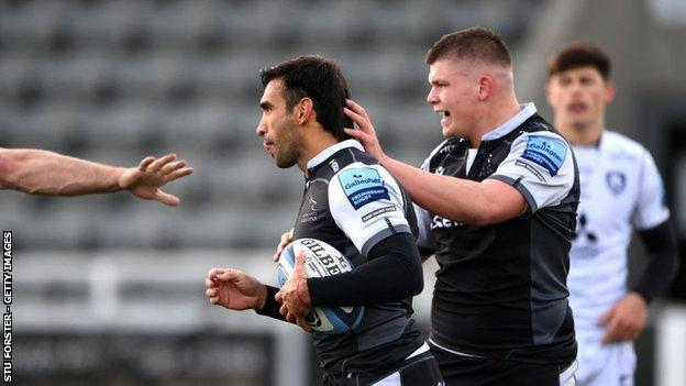 Argentina's Matias Orlando claimed his first try for Newcastle on only his second start