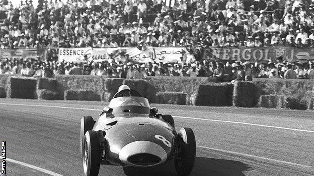 Former Great Britain F1 driver Stirling Moss in action at the 1958 Grand Prix of Morocco