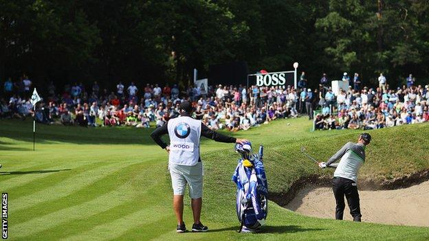 Chris Wood plays from a bunker during the 2016 PGA Championship at Wentworth