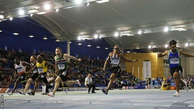 Andrew Robertson leads the 60m sprint title