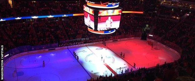 The scene before a National Hockey League match between Washington Capitals and Calgary Flames
