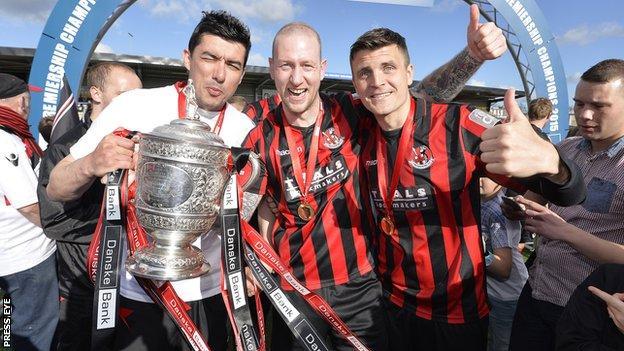 Crusaders celebrate their league title success in April