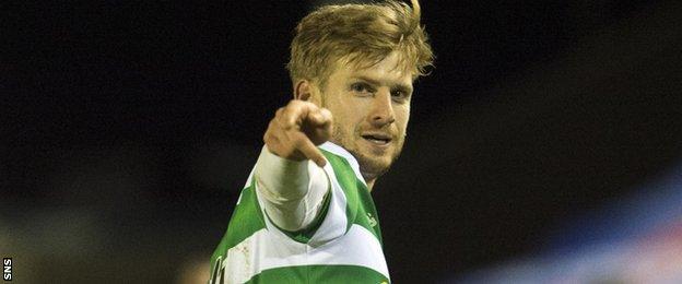 Stuart Armstrong celebrates his goal for Celtic