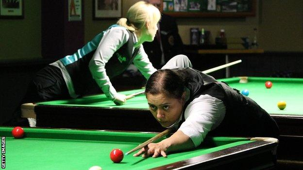 Women playing snooker.