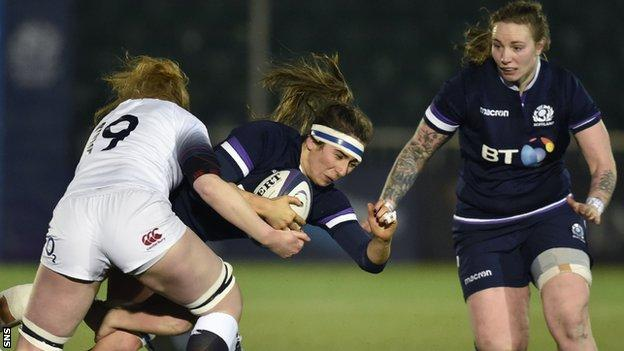 Scotland's Emma Wassail takes on England's Catherine O'Donnell (left)