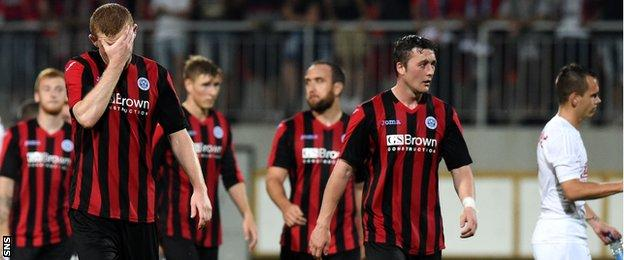 St Johnstone players look dejected as they leave the pitch after losing 3-2 on aggregate to Spartak Trnava in the third qualifying round of the Europa League last season