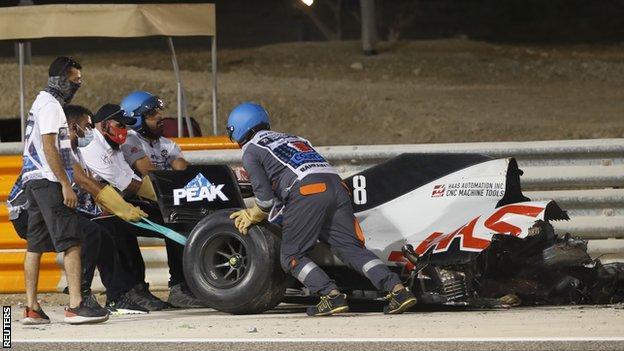 Romain Grosjean car is taking away