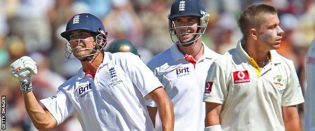 ADELAIDE, AUSTRALIA - DECEMBER 04: Alastair Cook (L) of England celebrates as he reaches his century as Kevin Pietersen of England and Xavier Doherty of Australia look on during day two of the Second Ashes Test match between Australia and England at Adelaide Oval on December 4, 2010 in Adelaide, Australia. (Photo by Scott Barbour/Getty Images)