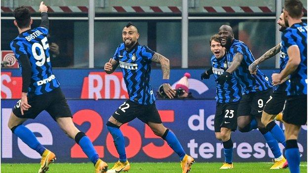 Inter celebrate against Juventus
