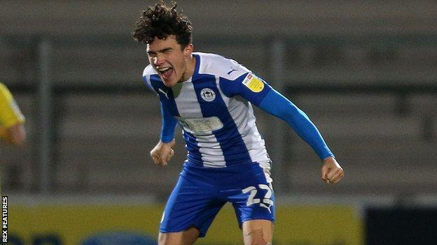 Kyle Joseph scored a hat-trick in Wigan's League One win at Burton in December 2020