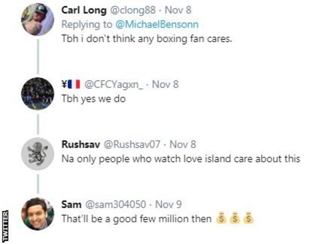 Twitter reaction to Tommy Fury's return