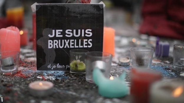 The Place de la Bourse has become a makeshift memorial to the victims