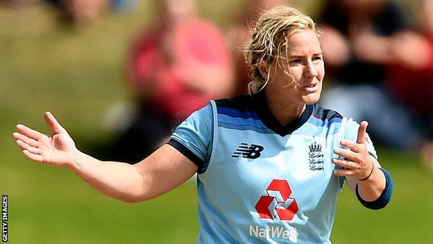 England fast bowler Katherine Brunt gestures during the second ODI against New Zealand