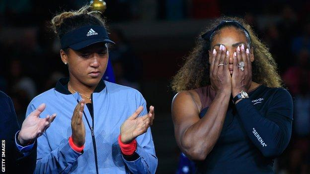 US Open winner Naomi Osaka (left) and beaten finalist Serena Williams