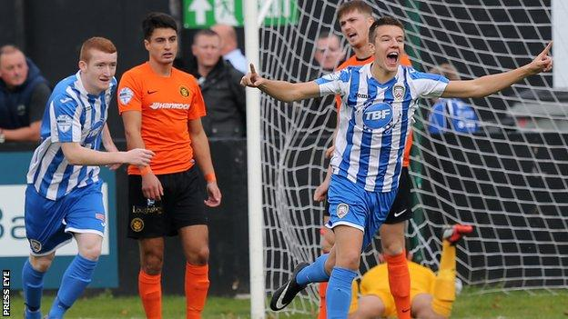 Brad Lyons scored in Coleraine's 2-1 win over Carrick Rangers at Taylor's Avenue on 10 October