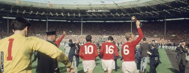 England celebrate their victory in the 1966 World Cup final at Wembley