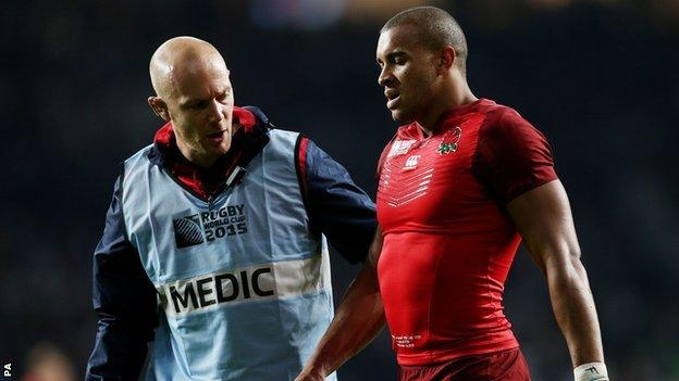 Jonathan Joseph initially sustained the injury in England's first Rugby World Cup game against Fiji.