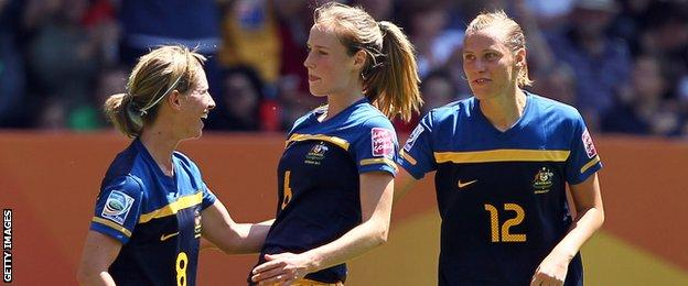 Ellyse Perry in action for Australia's football team