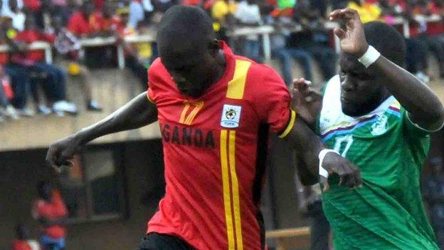 Farouk Miya (left) scored to qualify Uganda for the 2017 Nations Cup in Gabon