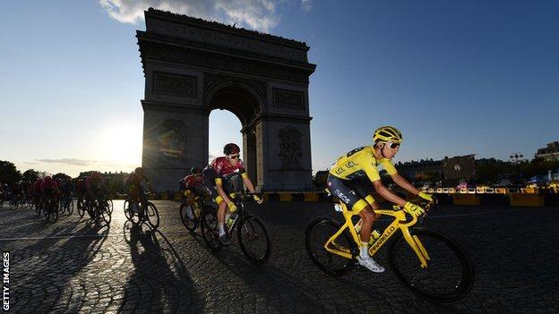 Egan Bernal in yellow in 2019 Tour de France